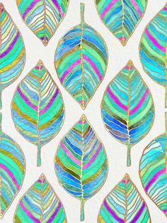 abstract, leaf, pattern, spring, multicolors, digital art, decorative