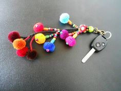 Colorful Pom poms Keychain Zip Pull Bag Accessory by KhumWiengKham