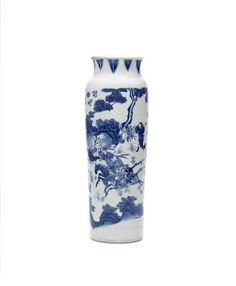 A blue and white sleeve vase, rolwagen, Circa 1640
