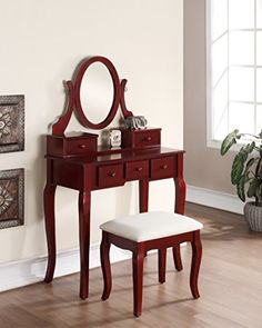 3-Piece Wood Make-Up Mirror Vanity Dresser Table and Stool Set, Cherry