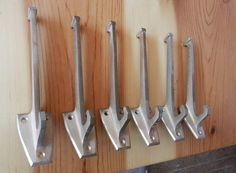 set of brushed brass hall tree hooks vintage 6 pc mid century modern $60