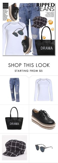 """""""Ripped Jeans"""" by svijetlana ❤ liked on Polyvore featuring rippedjeans, polyvoreeditorial and twinkledeals"""