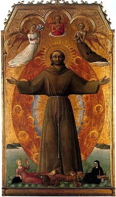 The Ecstacy of St. Francis, Sassetta. He stands in a radiant gateway surrounded by red seraphim angels