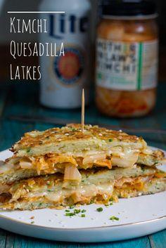 They're like latke reubens...totally creative Kimchi Quesadilla Latkes! from @whatjewwannaeat