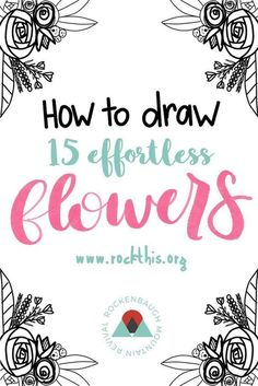 Video showing you how to draw 15 different flowers AND a printable practice sheet! Bibel Journal, Flower Doodles, Doodle Flowers, How To Draw Flowers, Easy Flowers To Paint, Painting Flowers, You Draw, Learn To Draw, Different Flowers