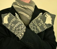 Free knitting pattern for Winter Is Coming Mittens featuring Start Direwolf Game of Thrones patterns