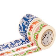 Patterned rolls of MT masking tape from the Summer 2013 designer series by Bengt   Lotta in Sweden - From the Japanese company which invented 'washi' rice paper masking tape  - The semi-transparent tape is easily torn by hand and re-positionable  - Add color anywhere from letters to gifts, walls to notebooks  - Perfect little writing space to leave a happy note or label  - Each roll is 10m long<b>Three Swedish Patterns Available:</b><i>A...