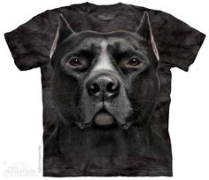 T SHIRT THE MOUNTAIN 3D BLACK PIT BULL HEAD CANE PIT BULL UNISEX ADULT