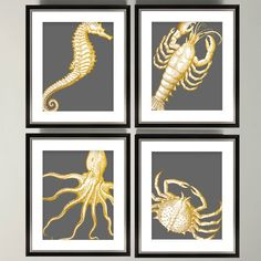 Gold Nautical Prints  Gold Octopus Decor  by SecretHarborDesigns, $15.00