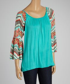 Mint & Coral Geo Bell-Sleeve Scoop Neck Top | zulily
