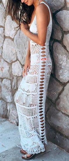Boho crochet maxi. Beautiful.