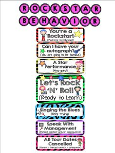 Rockstar themed behavior clipchart. Comes with Letters, all the behavior chart parts, and awards for making it to the top.