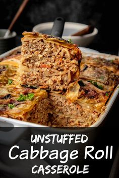 Unstuffed Cabbage Rolls Casserole is my family's latest obsession. It's a lot quicker to make then traditional cabbage rolls, so I can make it more often. Cabbage Roll Casserole, Beef Casserole, Casserole Dishes, Casserole Recipes, Soup Recipes, Cooking Recipes, Recipies, Dinner Recipes, Ww Recipes