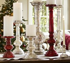 Antique Mercury Glass Pillar Holders | Pottery Barn