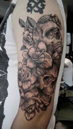 Skull Flower Rose Dotwork Tattoo by Ottorino d'Ambra