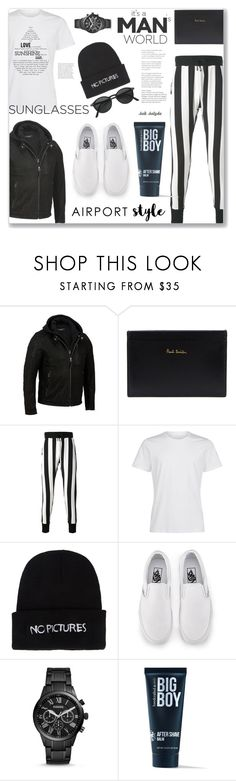 """""""Jet Set - Airport Style: 02/06/17"""" by solyda-sok ❤ liked on Polyvore featuring Paul Smith, UNCONDITIONAL, Nasaseasons, Vans, FOSSIL, 21 Men, men's fashion and menswear"""