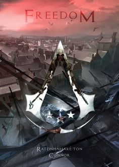 "Assassin's Creed Freedom #Displate artwork by artist ""Vincent Lai"". Part of a 9-piece set featuring emblems and characters from the popular Assassin's Creed video game franchise. £35 / $46 per poster (Regular size), £71 / $94 per poster (Large size) #AssassinsCreed #Altair #AltairIbnLaAhad #Ezio #EzioAuditore #ConnorKenway #EdwardKenway #Adéwalé #ArnoDorian #JacobFrye #EvieFrye #DesmondMiles #KnightsTemplar #TemplarKnights"