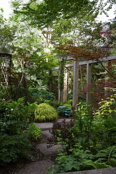 Simple wooden pergola and metal ornament add height amid lush foliage in the Toronto garden of noted Canadian gardener and writer Marjorie Harris.