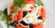Chicken salad with grapefruit, prunes & nuts