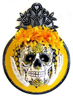 DIA DE LOS MUERTOS/DAY OF THE DEAD~Original: White Skull With Hands Art Piece catboxartstudio