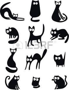 Siluetas de gato negro photo