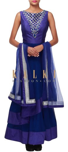 Buy Online from the link below. We ship worldwide (Free Shipping over US$100) http://www.kalkifashion.com/blue-anarkali-suit-adorn-in-mirror-and-kardana-embroidery-only-on-kalki.html