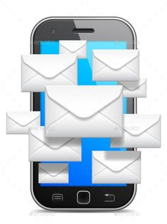 Mobile phone and group of white envelopes. This file is fully editable vector illustration. It can be scaled to any size. All its