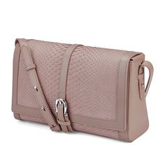 Shoulder Buckle Bag in Nude Nubuck Python from Aspinal of London