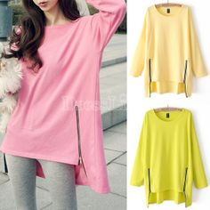 Women's Long Sleeve Loose Candy Colors T-Shirt Tops