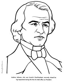 free printable president andrew johnson facts and coloring picture
