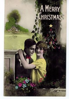 Vtg Antique Real Photo Hand Colored Postcard Italy Christmas Couple Lovers NOS