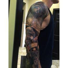 Superb American Patriotic Theme Tattoo On Full Sleeve