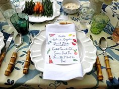 Gorgeous summer table setting at Aerin Lauder's summer home!  Love the plate of crudites.