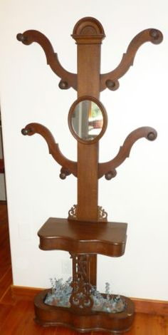 Rare Antique Walnut Tree Hat Rack Stand With Mirror Made In Uk