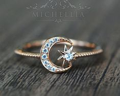 Rings Promise Solid Gold Diamond Moon and Star Ring, Promise Ring, Engagement Ring, Galaxy Ring, North Star Ring Moon Jewelry, Cute Jewelry, Jewelry Rings, Jewelry Accessories, Jewellery Stand, Jewellery Making, Jewelry Shop, Jewelry Stores, Jewlery