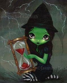"""""""Wicked Witch and Her Hourglass""""! Wicked Witch and Her Hourglass - the latest in my very popular Wizard of Oz series! You may be familiar with my series. Wicked Witch and Her Hourglass Elfen Tattoo, Fine Art Prints, Canvas Prints, Framed Prints, Witch Art, Wicked Witch, Fairy Art, Gothic Art, Illustrations"""