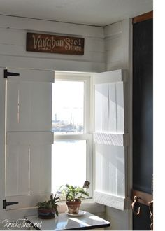 DIY:  How to Build Farmhouse Shutters using Pine or Pallet Wood - this is an easy beginner's project and an inexpensive way to add privacy to your home - My REpurposed Life