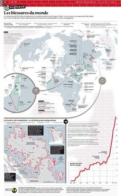La construction des barrières de séparation s'est accélérée après la fin de la guerre froide : on en recense une cinquantaine déjà érigées ou en cours d'édification. Elles rendent parfois les frontières incompréhensibles, comme au Bangladesh.