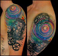 Dr Who Tattoo, Doctor Who Tattoos, Doctor Tattoo, Tattoo You, Tardis Tattoo, Tattoo Sleves, Sleeve Tattoos, Star Trek Tattoo, Gear Tattoo