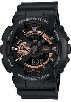 G-Shock Rose Gold Black XL Analog Digital -Rose gold has never looked so good. Three sophisticated choices that blend timeless appeal and G-Shock's durability within the X-Large analog/digital case designs. Rose gold accents that look great in combination with either black or white. Matte black resin band digital watch with a rose gold/black face.