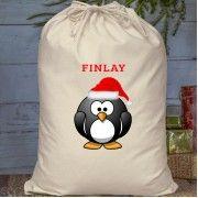 Christmas Personalised Penguin Cotton Santa Sack or Present Bag Santa Sack, Sacks, Reindeer, Christmas Gifts, Stockings, Presents, Penguin, Cotton, Decor