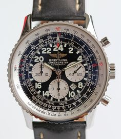 SUPERB BREITLING CHRONO NAVITIMER COSMONAUTE BLACK 24-HOUR DIAL - BOX AND PAPERS in Jewelry & Watches, Watches, Parts & Accessories, Wristwatches | eBay