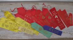 Vintage horse show ribbons, award ribbons, equestrian, red, yellow, green, purple, 1960's, vintage craft supplies, farmhouse decor. Available @ jemsbyjennym.etsy.com