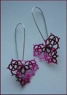 Tatted earrings. Really like the proportions on these hearts and the amount of variegation in the thread.