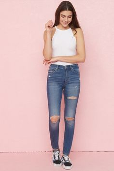 Women's Jeans & Jeggings Blue Jean Outfits, Cute Outfits With Jeans, Cute Outfits For Kids, Outfits For Teens, Cool Outfits, Jeggings Outfit, High Waist Jeggings, Light Wash Jeans, Curvy Fashion