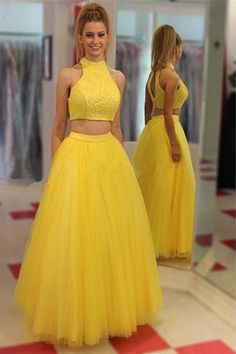 Yellow Two Pieces High Neckline Tulle Cheap Long Prom Dresses K685