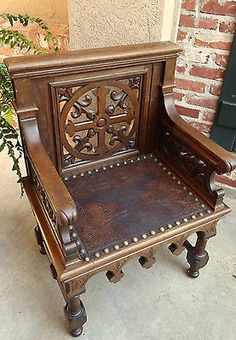 Antique French Gothic Revival Altar Bishop CHAIR Carved Tiger Oak–LEATHER-Church