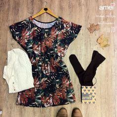 E quem foi que disse que não da para usar vestido no inverno?  #lojaamei #vestido #outono #inverno #meiacalça #cardigan