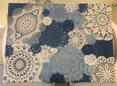 Taulu vanhoista ja uusista pitsiliinoista/Doily art wall hanging Quilts, Blanket, Wallet, Handmade, Hand Made, Quilt Sets, Blankets, Log Cabin Quilts, Cover