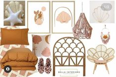 Get your shell on with this gorgeous mood board by @bella_interiors_23. Who's loving the pastel colours with the natural rattan look. We are so in love. 📷@bella_interiors_23 Ocean Themes, Beach Themes, Rattan Furniture, Cool Furniture, Pastel Colors, Colours, Nursery Themes, Bedroom Inspiration, Furniture Making